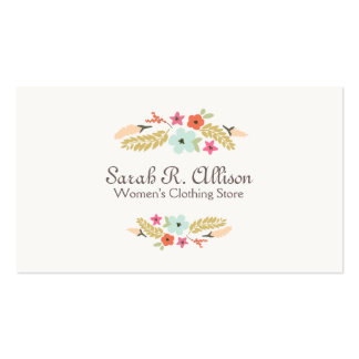 Cute Flower Logo Fashion Boutique Double-Sided Standard Business Cards (Pack Of 100)