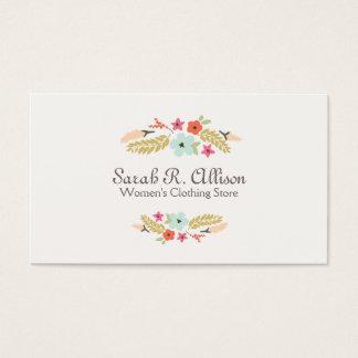 Cute Flower Logo Fashion Boutique Business Card