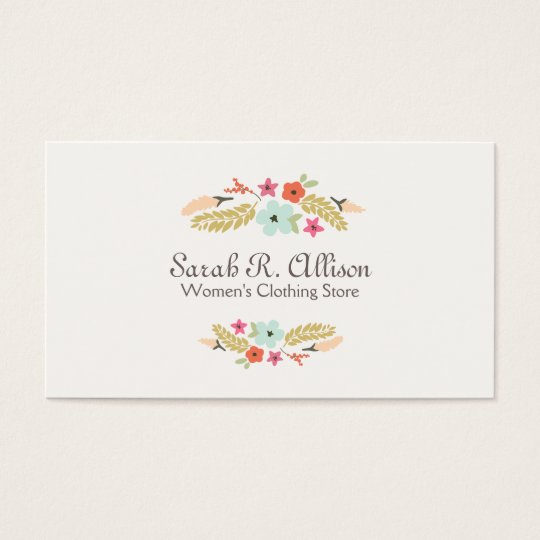 Cute flower logo fashion boutique business card zazzle cute flower logo fashion boutique business card reheart Images