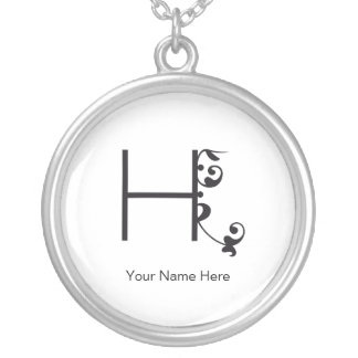 CUTE FLOWER MONOGRAM H WHITE SILVER PLATED NECKLACE