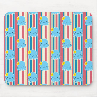 Cute Flower Octopus Stripes Pattern Mouse Pad