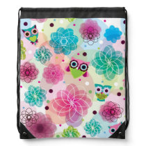 Cute flower owl background pattern drawstring bag