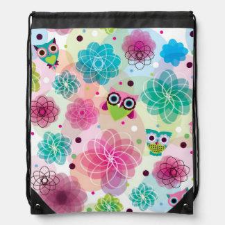 Cute flower owl background pattern drawstring bag