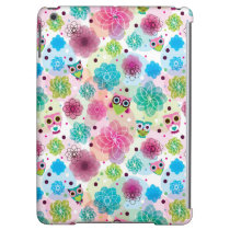Cute flower owl background pattern iPad air cases