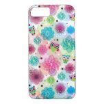 Cute flower owl background pattern iPhone 7 case