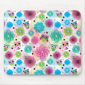Cute flower owl background pattern mouse pad