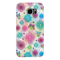 Cute flower owl background pattern samsung galaxy s6 case