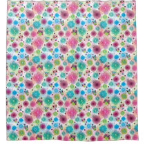 Cute flower owl background pattern shower curtain