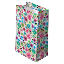 Cute flower owl background pattern small gift bag