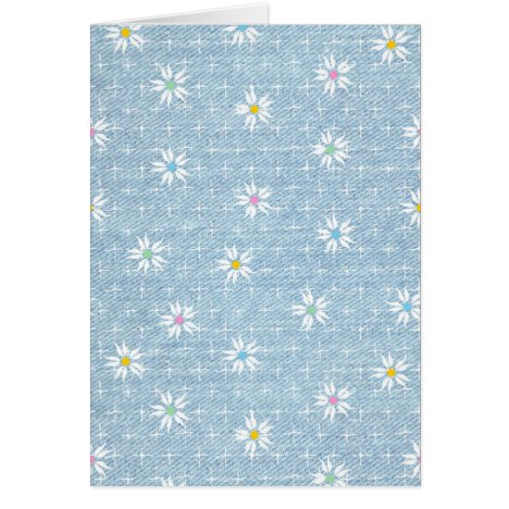 Cute flower pattern on denim look background