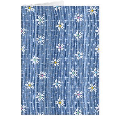 Cute flower pattern on grainy denim look