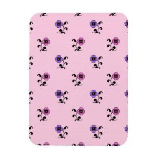 Cute Flower Pattern on Pale Pink Vinyl Magnet