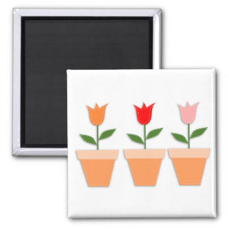 Cute Flower Pot Tulips 2 Inch Square Magnet