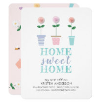 Cute Flower Pots New Address Moving Announcement