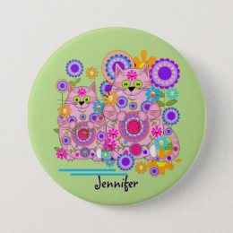Cute flower power cats & custom name pinback button
