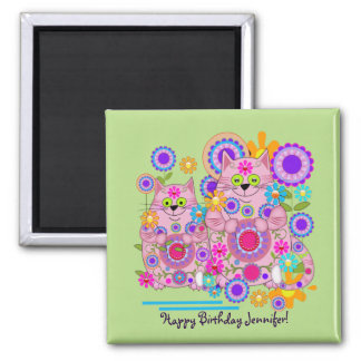 Cute flower power cats & custom name + text magnet