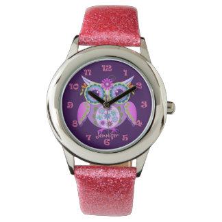 Cute flower power owl, clocknumbers & custom name wrist watch