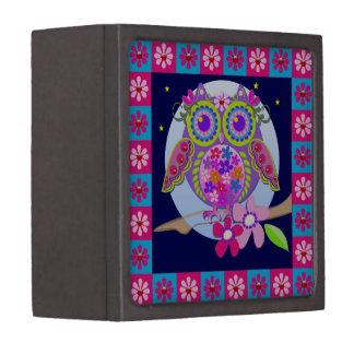 Cute flower power Owl gift box Premium Trinket Box
