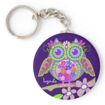 Cute Flower Power Owl with Name keychain