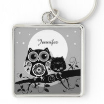 Cute Flower power Owls & custom name Keychain