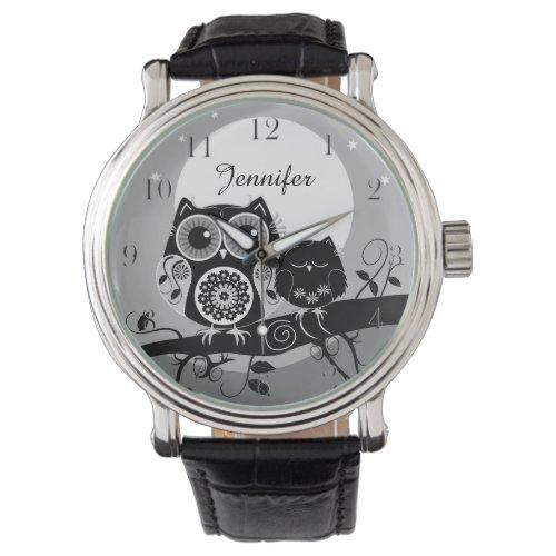 Cute Flower power Owls & custom name Wrist Watch