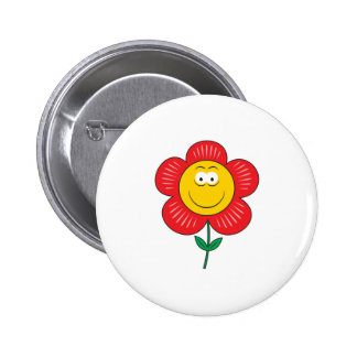 Cute Flower  Smiley Face 2 Inch Round Button