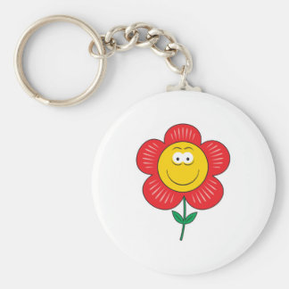 Cute Flower  Smiley Face Basic Round Button Keychain