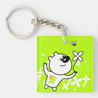 Cute Flower Teddy Bear On Lime Green Keychain