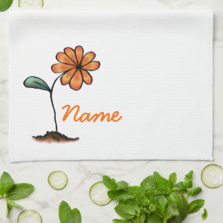 Cute Flower Towel, Your Name Here Template Hand Towels