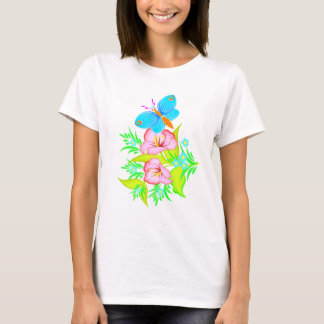 Cute Flowers &  A Butterfly T-Shirt