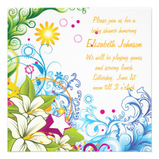 Cute Flowers and Stars Gender Neutral Baby Shower Invites