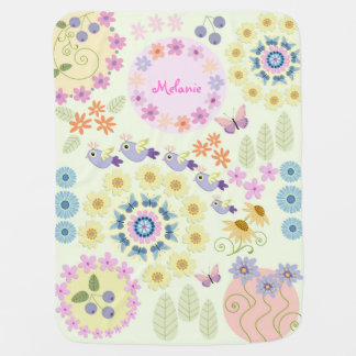 Cute flowers, birds, butterflies & custom Name Stroller Blanket