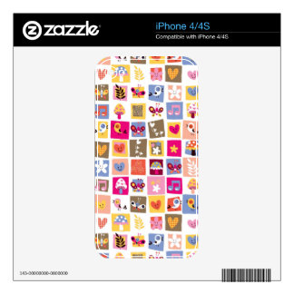 cute flowers, birds, hearts squares pattern decal for iPhone 4