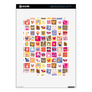 cute flowers, birds, hearts squares pattern skin for iPad 3