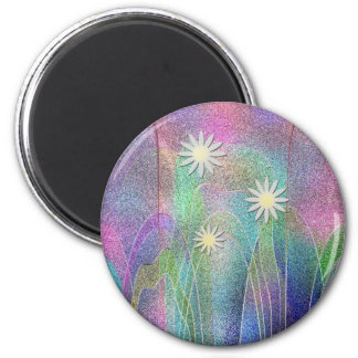 Cute Flowers Colorful Design 2 Inch Round Magnet