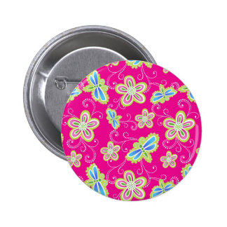 Cute flowers, dragonflies and swirls on pink button