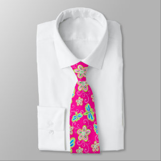 Cute flowers, dragonflies and swirls on pink neck tie