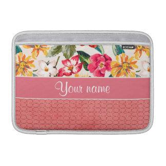 Cute Flowers Faux Pink Glitter Circles MacBook Air Sleeve