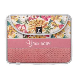 Cute Flowers Faux Pink Glitter Circles MacBook Pro Sleeve