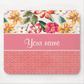 Cute Flowers Faux Pink Glitter Circles Mouse Pad