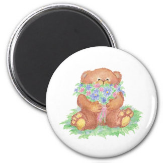 Cute Flowers for You Teddy Bear 2 Inch Round Magnet