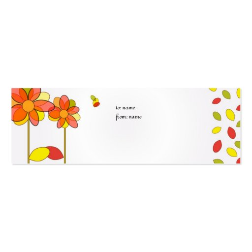 cute flowers gift tag business card,