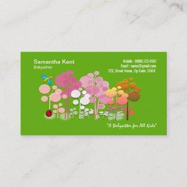 Cute Flowers Green Garden Babysitter Business Card