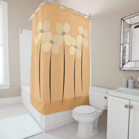 Cute  Flowers Modern Abstract  Floral Shower Curtain