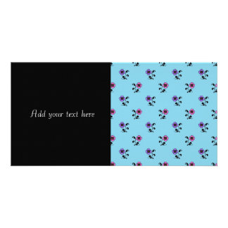 Cute Flowers on Blue Background Photo Card Template