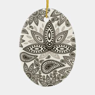 cute flowers Double-Sided oval ceramic christmas ornament