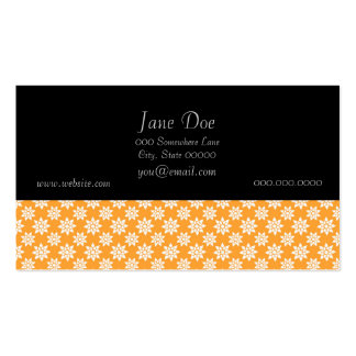 Cute Flowers Pattern White over Orange Business Card