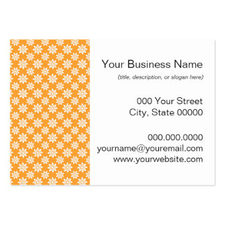 Cute Flowers Pattern White over Orange Large Business Card