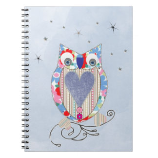 Cute Flowery Blue Pink Whimsical  Owl Picture Notebook