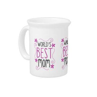 Cute Flowery World's Best Mom Beverage Pitchers